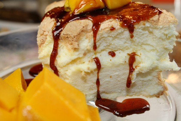 Japanese Mango Cake Recipe: Mango Caramel Angel Food Cake