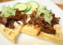 Tamarind-Guava Flavored Beef Brisket on Potato Waffle Tacos