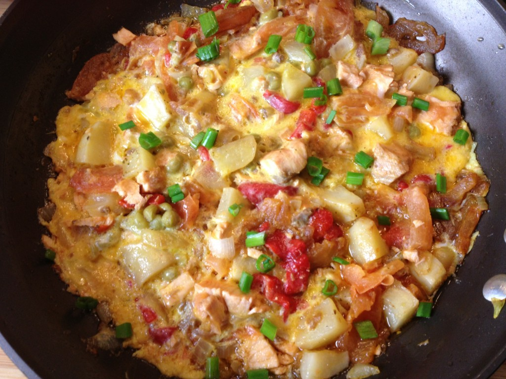 Salmon Frittata with Potatoes, Peppers, Tomatoes and Peas