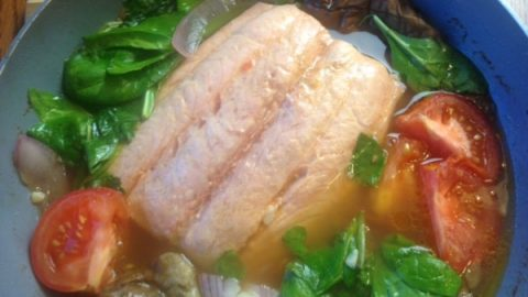 Salmon Sinigang Tamarind Soup Stew With Vegetables Asian In America