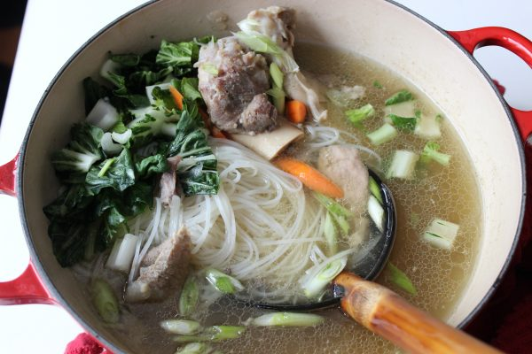 Pho Noodles Soup with Pork and Vegetables