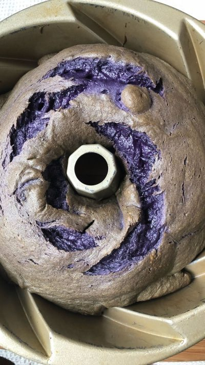 Ube Purple Yam Pound Cake With Ube Frosting In A Swirly